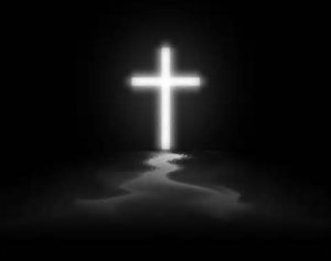 white cross on black background